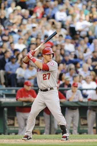 Jul 13, 2013; Seattle, WA, USA; Los Angeles Angels center fielder Mike Trout (27) waits for the pitch during the game against the Seattle Mariners at Safeco Field. Seattle defeated Los Angeles 6-0. Mandatory Credit: Steven Bisig-USA TODAY Sports