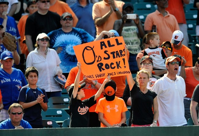 Jul 14, 2013; Baltimore, MD, USA; Baltimore Orioles fans hold up a sign in support of the Orioles all-star players during a game against the Toronto Blue Jays at Oriole Park at Camden Yards. The Orioles defeated the Blue Jays 7-4. Mandatory Credit: Joy R. Absalon-USA TODAY Sports