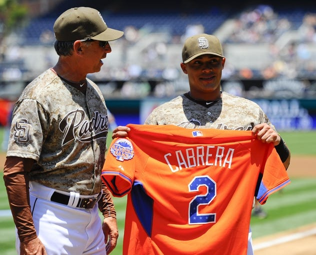 Jul 14, 2013; San Diego, CA, USA; San Diego Padres allstar Everth Cabrera (2) is recognized by the team and manager Bud Black prior to the Padres game against the San Francisco Giants at Petco Park. Mandatory Credit: Christopher Hanewinckel-USA TODAY Sports