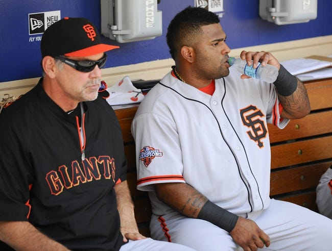 Jul 14, 2013; San Diego, CA, USA; San Francisco Giants manager Bruce Bochy (15) and third baseman Pablo Sandoval (48) prior to the game against the San Diego Padres at Petco Park. Mandatory Credit: Christopher Hanewinckel-USA TODAY Sports