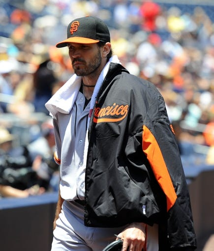 Jul 14, 2013; San Diego, CA, USA; San Francisco Giants starting pitcher Barry Zito (75) prior to the game against the San Diego Padres at Petco Park. Mandatory Credit: Christopher Hanewinckel-USA TODAY Sports
