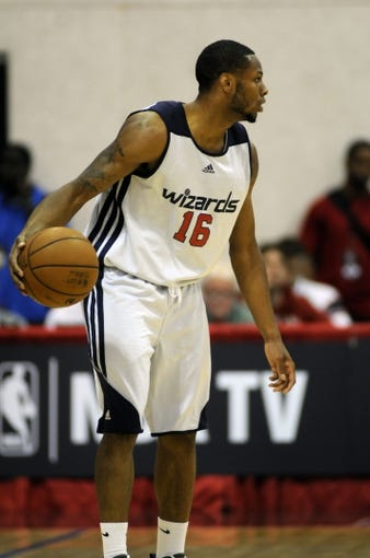 Jul 14, 2013; Las Vegas, NV, USA; Washington Wizards guard Marquez Haynes dribbles the ball in an NBA Summer League game against the New York Nicks in the Cox Pavillion. Mandatory Credit: Stephen R. Sylvanie-USA TODAY Sports