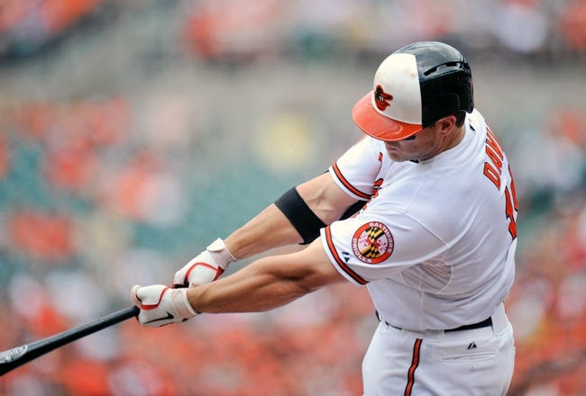 Jul 14, 2013; Baltimore, MD, USA; Baltimore Orioles first baseman Chris Davis (19) hits a two-run home run in the third inning against the Toronto Blue Jays at Oriole Park at Camden Yards. Mandatory Credit: Joy R. Absalon-USA TODAY Sports