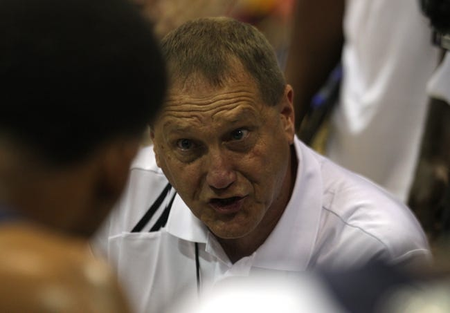 Jul 14, 2013; Las Vegas, NV, USA; Memphis Grizzlies assistant coach Duane Ticknor addresses a player on the bench during a timeout taken in an NBA Summer League game against the Cleveland Cavaliers at Cox Pavillion. Mandatory Credit: Stephen R. Sylvanie-USA TODAY Sports
