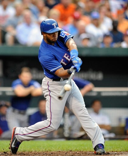 Jul 10, 2013; Baltimore, MD, USA; Texas Rangers shortstop Elvis Andrus (1) bats in the second inning against the Baltimore Orioles at Oriole Park at Camden Yards. The Orioles defeated the Rangers 6-1. Mandatory Credit: Joy R. Absalon-USA TODAY Sports