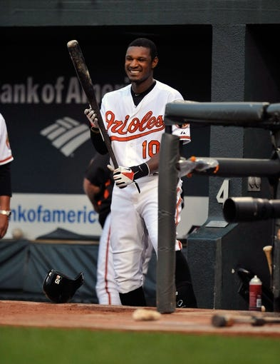Jul 10, 2013; Baltimore, MD, USA; Baltimore Orioles center fielder Adam Jones (10) in the dugout during the third inning against the Texas Rangers at Oriole Park at Camden Yards. The Orioles defeated the Rangers 6-1. Mandatory Credit: Joy R. Absalon-USA TODAY Sports