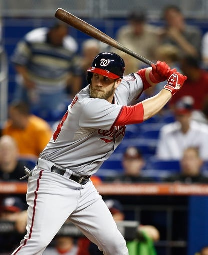 Jul 12, 2013; Miami, FL, USA; Washington Nationals left fielder Bryce Harper (34) at bat in the first inning against the Miami Marlins at Marlins Park.  Mandatory Credit: Robert Mayer-USA TODAY Sports