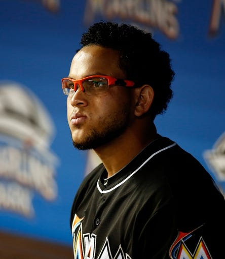 Jul 12, 2013; Miami, FL, USA;  Miami Marlins starting pitcher Henderson Alvarez before a game against the Washington Nationals at Marlins Park.  Mandatory Credit: Robert Mayer-USA TODAY Sports