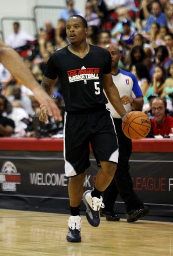 Jul 15, 2013; Las Vegas, NV, USA; Los Angeles Clippers point guard Maalik Wayns dribbles the ball during an NBA Summer League game against the Los Angeles Lakers at Cox Pavillion. Mandatory Credit: Stephen R. Sylvanie-USA TODAY Sports