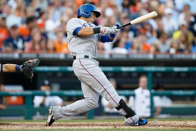 July 12, 2013; Detroit, MI, USA; Texas Rangers center fielder Leonys Martin (2) at bat against the Detroit Tigers at Comerica Park. Mandatory Credit: Rick Osentoski-USA TODAY Sports