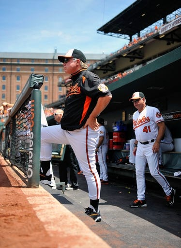 Jul 14, 2013; Baltimore, MD, USA; Baltimore Orioles manager Buck Showalter (26) in the dugout during the first inning against the Toronto Blue Jays at Oriole Park at Camden Yards. The Orioles defeated the Blue Jays 7-4. Mandatory Credit: Joy R. Absalon-USA TODAY Sports