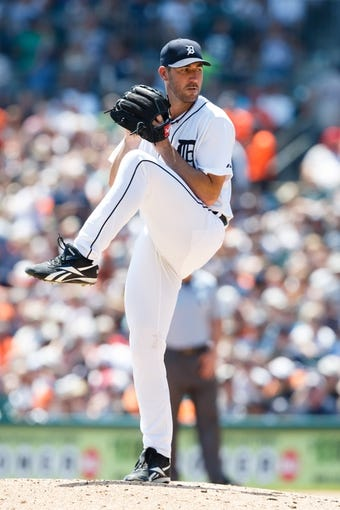 July 14, 2013; Detroit, MI, USA; Detroit Tigers starting pitcher Justin Verlander (35) pitches against the Texas Rangers at Comerica Park. Mandatory Credit: Rick Osentoski-USA TODAY Sports