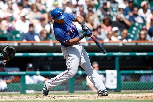 July 14, 2013; Detroit, MI, USA; aTexas Rangers third baseman Adrian Beltre (29) at bat against the Detroit Tigers t Comerica Park. Mandatory Credit: Rick Osentoski-USA TODAY Sports