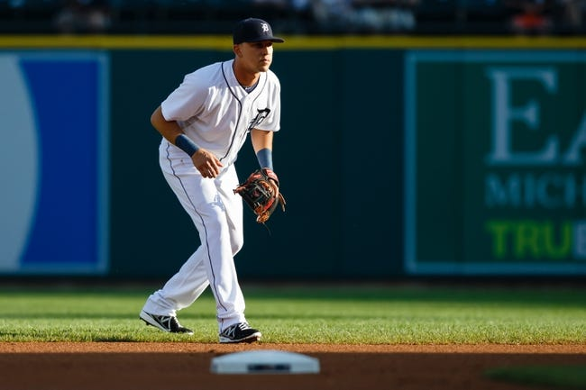 July 13, 2013; Detroit, MI, USA; Detroit Tigers shortstop Hernan Perez (26) in the field against the Texas Rangers at Comerica Park. Mandatory Credit: Rick Osentoski-USA TODAY Sports