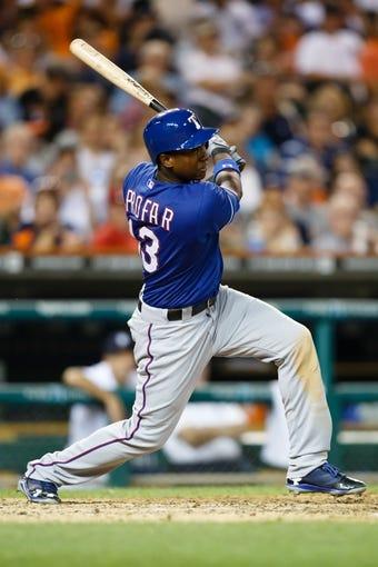 July 13, 2013; Detroit, MI, USA; Texas Rangers designated hitter Jurickson Profar (13) at bat against the Detroit Tigers at Comerica Park. Mandatory Credit: Rick Osentoski-USA TODAY Sports