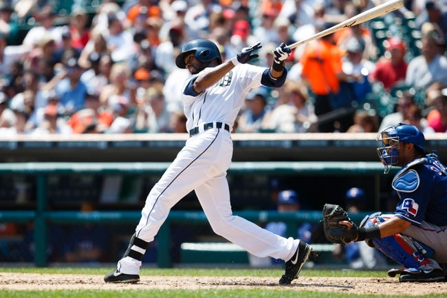 July 14, 2013; Detroit, MI, USA; Detroit Tigers center fielder Austin Jackson (14) at bat against the Texas Rangers at Comerica Park. Mandatory Credit: Rick Osentoski-USA TODAY Sports