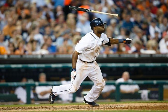 July 12, 2013; Detroit, MI, USA; Detroit Tigers right fielder Torii Hunter (48) at bat against the Texas Rangers at Comerica Park. Mandatory Credit: Rick Osentoski-USA TODAY Sports