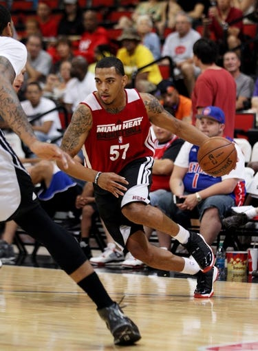 Jul 18, 2013; Las Vegas, NV, USA; Miami Heat guard Anthony Marshall dribbles the ball during an NBA Summer League game against the Chicago Bulls at Cox Pavillion.  The Heat won the game 68-62. Mandatory Credit: Stephen R. Sylvanie-USA TODAY Sports