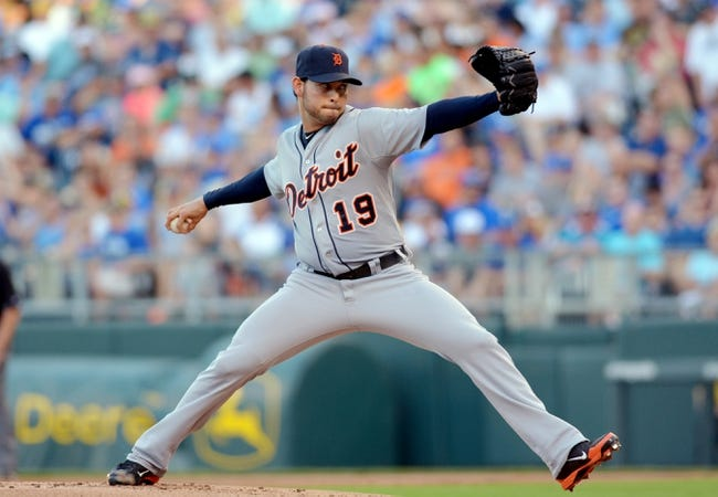 Jul 19, 2013; Kansas City, MO, USA; Detroit Tigers starting pitcher Anibal Sanchez (19) delivers a pitch in the first inning of the game against the Kansas City Royals at Kauffman Stadium. Mandatory Credit: Denny Medley-USA TODAY Sports