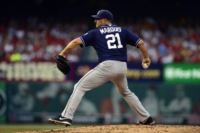 Jul 19, 2013; St. Louis, MO, USA; San Diego Padres starting pitcher Jason Marquis (21) throws to a St. Louis Cardinals batter during the first inning at Busch Stadium. Mandatory Credit: Jeff Curry-USA TODAY Sports