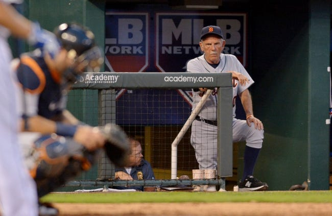 Jul 19, 2013; Kansas City, MO, USA; Detroit Tigers manager Jim Leyland (10) watches play from the dugout during the sixth inning of the game against the Kansas City Royals at Kauffman Stadium. Mandatory Credit: Denny Medley-USA TODAY Sports