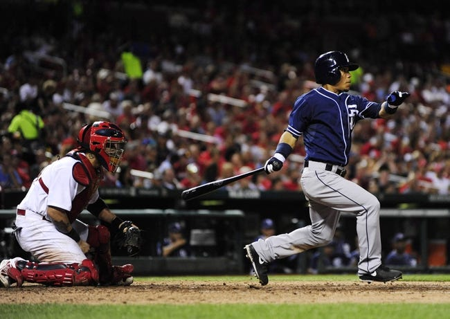 Jul 19, 2013; St. Louis, MO, USA; San Diego Padres shortstop Everth Cabrera (2) hits a one run single during the seventh inning against the St. Louis Cardinals at Busch Stadium. St. Louis defeated San Diego 9-6. Mandatory Credit: Jeff Curry-USA TODAY Sports