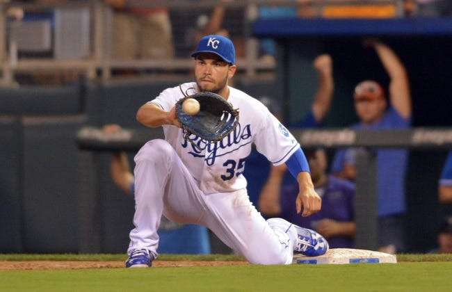 Jul 20, 2013; Kansas City, MO, USA; Kansas City Royals first baseman Eric Hosmer (35) makes the catch at first base for the final out in the game against the Detroit Tigers at Kauffman Stadium. The Royals won 6-5. Mandatory Credit: Denny Medley-USA TODAY Sports