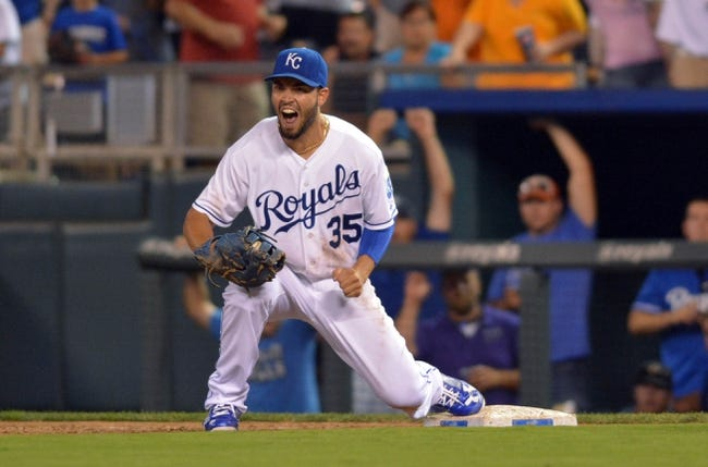 Jul 20, 2013; Kansas City, MO, USA; Kansas City Royals first baseman Eric Hosmer (35) celebrates after making the catch at first base for the final out in the game against the Detroit Tigers at Kauffman Stadium. The Royals won 6-5. Mandatory Credit: Denny Medley-USA TODAY Sports