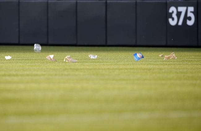 Jul 20, 2013; Denver, CO, USA; A general field as trash blows onto the field during the fourth inning between the Colorado Rockies and the Chicago Cubs at Coors Field. Mandatory Credit: Chris Humphreys-USA TODAY Sports