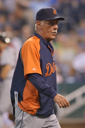 Jul 20, 2013; Kansas City, MO, USA; Detroit Tigers manager Jim Leyland (10) walks to the dugout after a pitching change in the seventh inning of the game against the Kansas City Royals at Kauffman Stadium. The Royals won 6-5. Mandatory Credit: Denny Medley-USA TODAY Sports