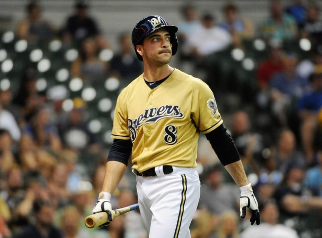 Jul 21, 2013; Milwaukee, WI, USA;  Milwaukee Brewers left fielder Ryan Braun reacts after striking out in the 11th inning against the Miami Marlins at Miller Park. Mandatory Credit: Benny Sieu-USA TODAY Sports
