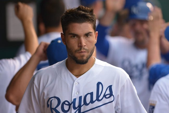 Jul 20, 2013; Kansas City, MO, USA; Kansas City Royals first baseman Eric Hosmer (35) walks into the dugout after scoring in the game against the Detroit Tigers at Kauffman Stadium. The Royals won 6-5. Mandatory Credit: Denny Medley-USA TODAY Sports