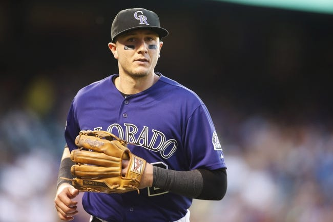 Jul 22, 2013; Denver, CO, USA; Colorado Rockies shortstop Troy Tulowitzki (2) during the fifth inning against the Miami Marlins at Coors Field. Mandatory Credit: Chris Humphreys-USA TODAY Sports