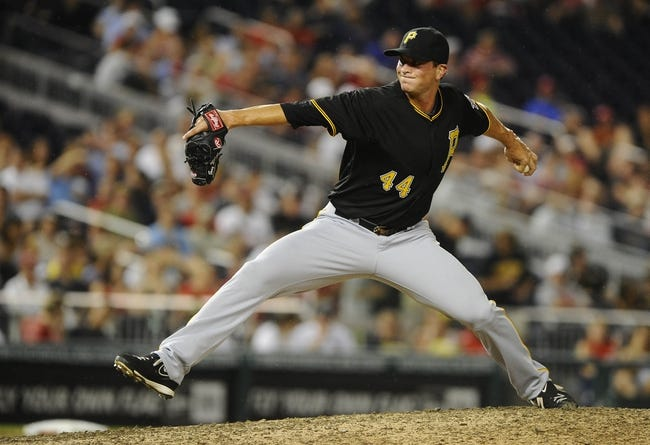 Jul 22, 2013; Washington, DC, USA; Pittsburgh Pirates relief pitcher Tony Watson (44) throws during the eighth inning against the Washington Nationals at Nationals Park. Mandatory Credit: Brad Mills-USA TODAY Sports