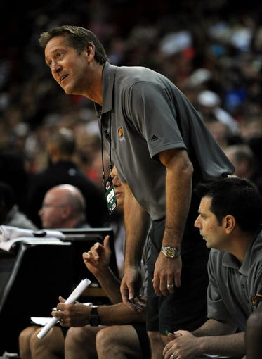 Jul 22, 2013; Las Vegas, NV, USA; Phoenix Suns head coach Jeff Hornacek reacts during the NBA Summer League Championship game against the Golden State Warriors at the Thomas and Mack Center. Golden State won the game 91-77 to remain undefeated during the Summer League games. Mandatory Credit: Stephen R. Sylvanie-USA TODAY Sports
