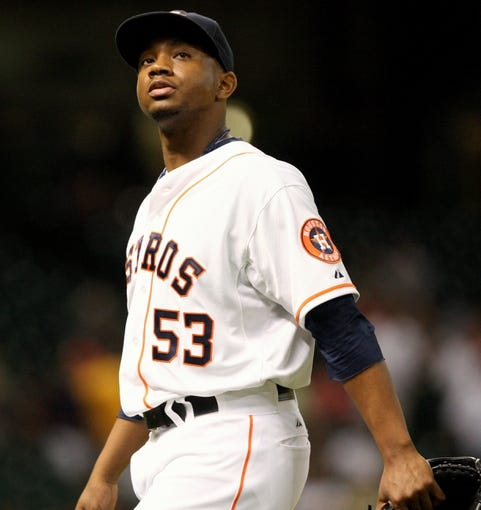 Jul 22, 2013; Houston, TX, USA; Houston Astros relief pitcher Wesley Wright (53) walks off the mound after pitching during the eighth inning against the Oakland Athletics at Minute Maid Park. Mandatory Credit: Troy Taormina-USA TODAY Sports
