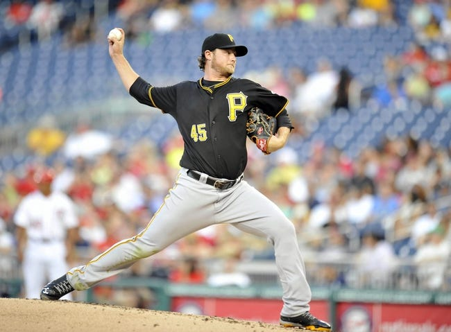 Jul 23, 2013; Washington, DC, USA; Pittsburgh Pirates starting pitcher Gerrit Cole (45) throws in the second inning against the Washington Nationals at Nationals Park. Mandatory Credit: Joy R. Absalon-USA TODAY Sports