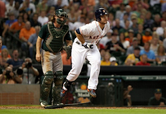Jul 23, 2013; Houston, TX, USA; Houston Astros first baseman Brett Wallace (29) reacts after being hit by a pitch during the fourth inning against the Oakland Athletics at Minute Maid Park. Mandatory Credit: Troy Taormina-USA TODAY Sports