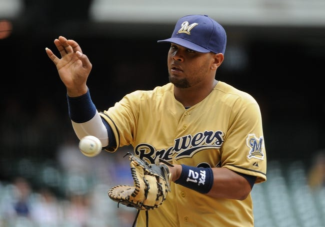 Jul 21, 2013; Milwaukee, WI, USA; Milwaukee Brewers first baseman Juan Francisco during the game against the Miami Marlins at Miller Park. Mandatory Credit: Benny Sieu-USA TODAY Sports