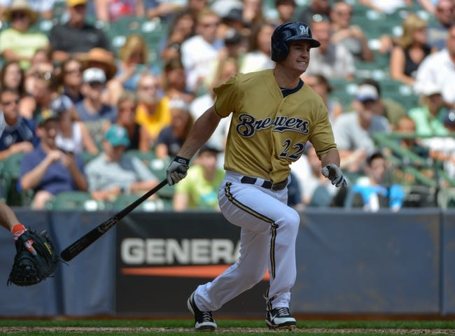 Jul 21, 2013; Milwaukee, WI, USA;  Milwaukee Brewers left fielder Logan Schafer during the game against the Miami Marlins at Miller Park. Mandatory Credit: Benny Sieu-USA TODAY Sports