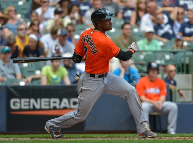 Jul 21, 2013; Milwaukee, WI, USA;  Miami Marlins shortstop Adeiny Hechavarria during the game against the Milwaukee Brewers at Miller Park. Mandatory Credit: Benny Sieu-USA TODAY Sports