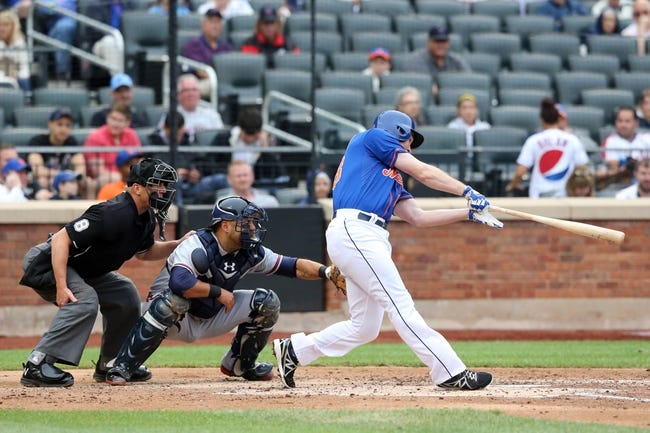 Jul 25, 2013; New York, NY, USA;  New York Mets second baseman Daniel Murphy (28) singles to left during the third inning against the Atlanta Braves at Citi Field. Mandatory Credit: Anthony Gruppuso-USA TODAY Sports