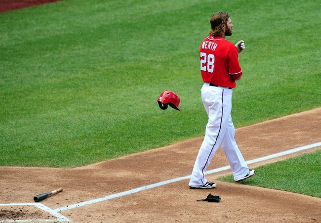Jul 26, 2013; Washington, DC, USA; Washington Nationals outfielder Jayson Werth (28) reacts after striking out in the third inning against the New York Mets at Nationals Park. Mandatory Credit: Evan Habeeb-USA TODAY Sports