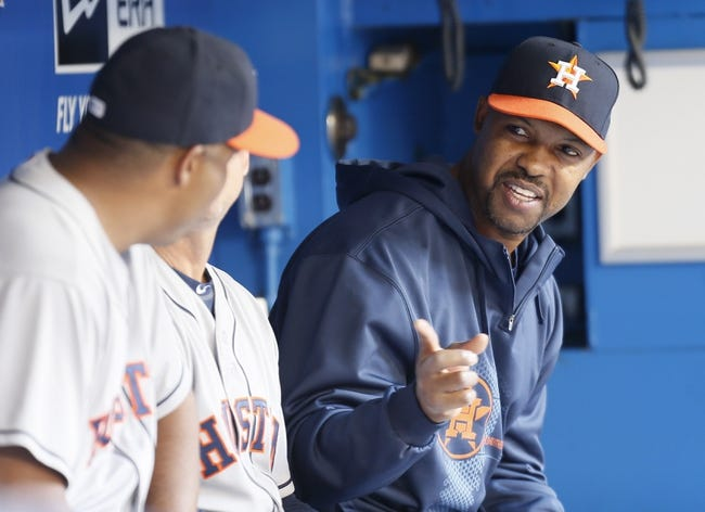 Jul 26, 2013; Toronto, Ontario, CAN; Houston Astros manager Bo Porter talks to his assistants during a game against the Toronto Blue Jays at the Rogers Centre. Mandatory Credit: John E. Sokolowski-USA TODAY Sports