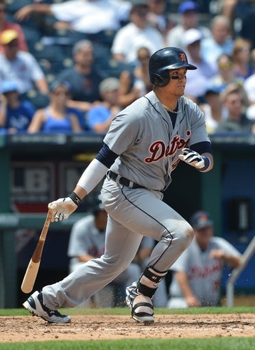 July 21, 2013; Kansas City, MO, USA; Detroit Tigers first basemen Victor Martinez (41) at bat against the Kansas City Royals during the fourth inning at Kauffman Stadium.  Mandatory Credit: Peter G. Aiken-USA TODAY Sports