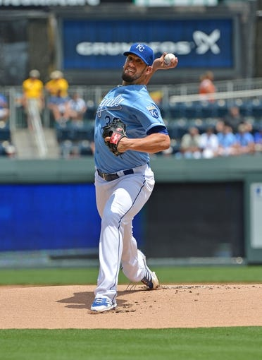 July 21, 2013; Kansas City, MO, USA;  Kansas City Royals pitcher James Shields (33) delivers a pitch against the Detroit Tigers during the first inning at Kauffman Stadium.  Mandatory Credit: Peter G. Aiken-USA TODAY Sports