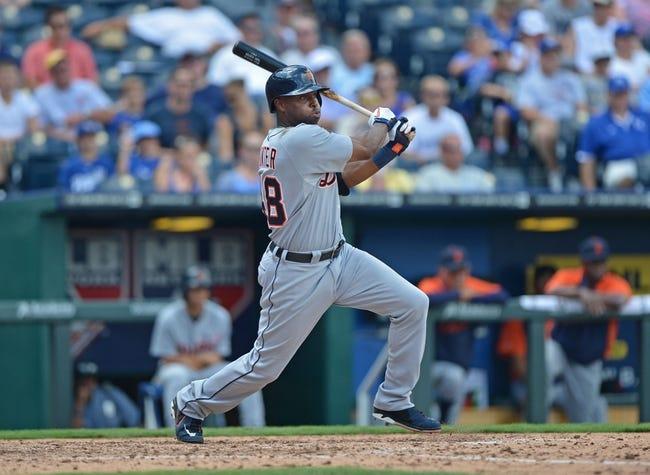 July 21, 2013; Kansas City, MO, USA; Detroit Tigers left fielder Torii Hunter (48) at bat against the Kansas City Royals during the sixth inning at Kauffman Stadium.  Mandatory Credit: Peter G. Aiken-USA TODAY Sports