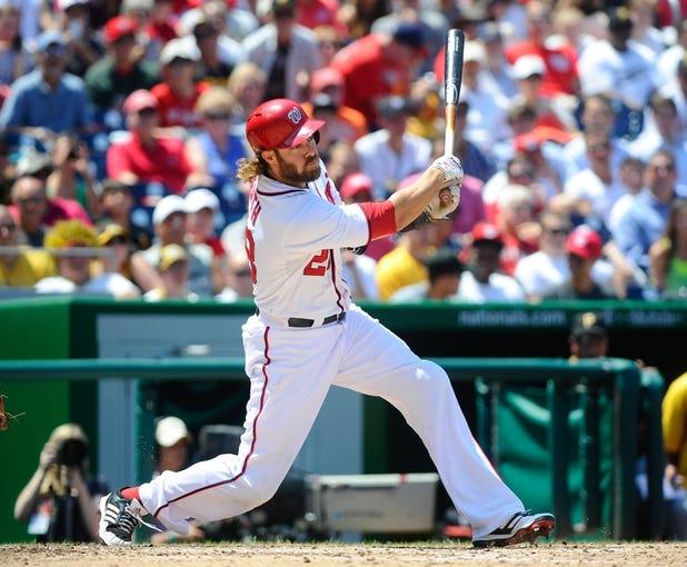 Jul 25, 2013; Washington, DC, USA; Washington Nationals right fielder Jayson Werth (28) bats during the game against the Pittsburg Pirates at Nationals Park. Mandatory Credit: Brad Mills-USA TODAY Sports