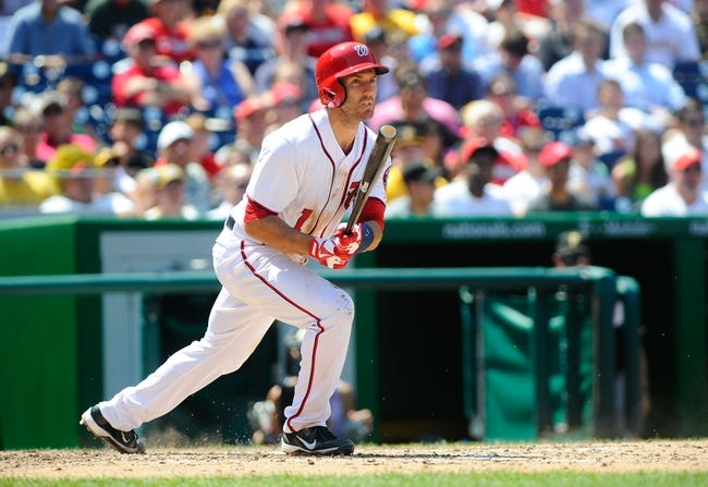Jul 25, 2013; Washington, DC, USA; Washington Nationals left fielder Stephen Lombardozzi (1) bats during the game against the Pittsburg Pirates at Nationals Park. Mandatory Credit: Brad Mills-USA TODAY Sports