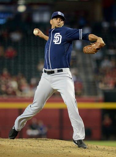 Jul 28, 2013; Phoenix, AZ, USA; San Diego Padres pitcher Tyson Ross (38) pitches against the Arizona Diamondbacks in the second inning at Chase Field. Mandatory Credit: Jennifer Stewart-USA TODAY Sports